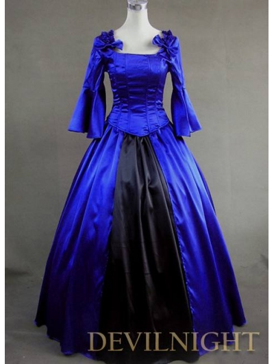 Blue And Black Vintage Gothic Victorian Ball Gowns