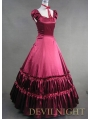 Elegant Red Short Sleeves Classic Gothic Victorian Dress