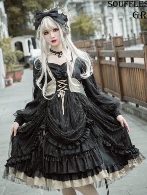 Neverland The Memories of Mammon Black Long Sleeve Gothic Lolita OP Dress