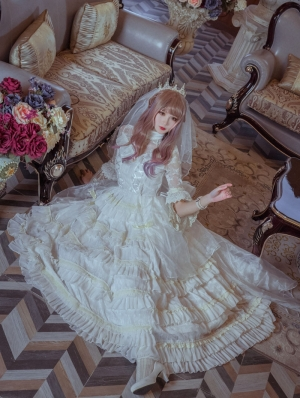 Neverland The Wedding Of Flora Gorgeous Long Sleeve Classic Lolita OP Dress