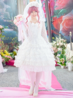 Neverland The White Gorgeous Long Sleeve Lace Lolita OP Dress