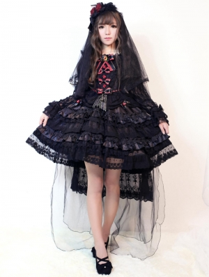 Neverland The Black Gorgeous Long Sleeve Lace Lolita OP Dress