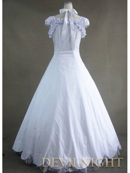 Classic White Lace And Bow Gothic Victorian Dress