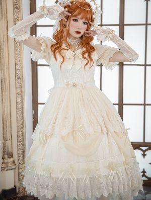 Neverland Swallowtail Butterfly Beige Short Sleeve Gorgeous Classic Lolita OP Dress