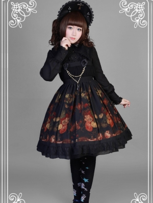 Neverland The Flowers With The Girl Pattern Black Gothic Lolita JSK Dress