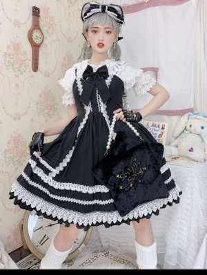 Neverland The Antique Doll Black And White Sweet Lolita JSK Set
