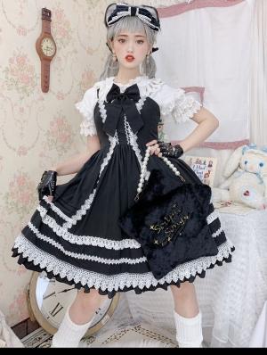 Neverland The Antique Doll Black And White Sweet Lolita JSK Set