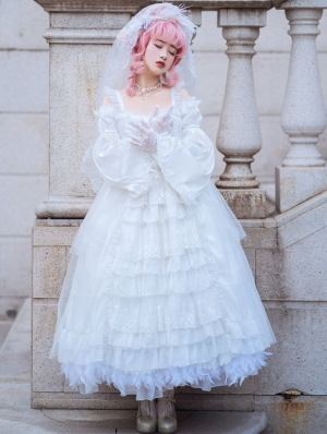 Neverland The Snow and Endless Night White Gorgeous Long Sleeve Classic Lolita OP Dress