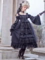 Neverland The Snow and Endless Night Black Gorgeous Long Sleeve Classic Lolita OP Dress