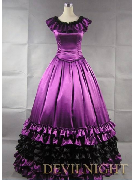 Elegant Purple Gothic Victorian Prom Dress - Devilnight.co.uk