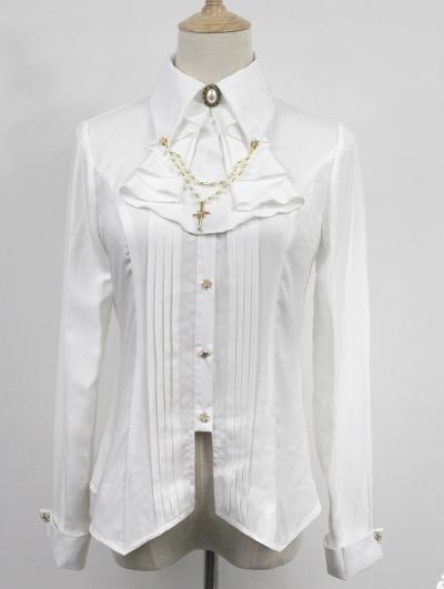 Neverland The Anthem Of Night White Long Sleeve Gothic Lolita Blouse