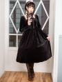 Neverland The Kiss Of Lilith Black Velvet Long Sleeve Classic Lolita OP Dress