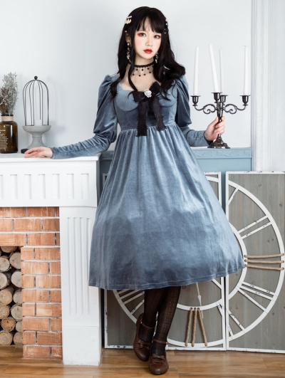Neverland The Kiss Of Lilith Grey Blue Velvet Long Sleeve Classic Lolita OP Dress