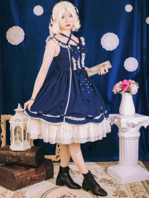 Neverland The Little Cattail Navy Sweet Lolita JSK Dress
