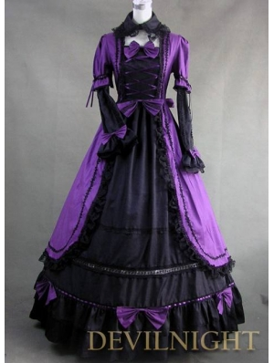 Romantic Purple and Black Long Sleeves Masquerade Gothic Victorian Dress