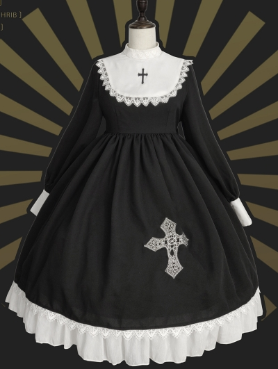 Neverland Domenica Black And White Long Sleeve Gothic Lolita OP Dress Set