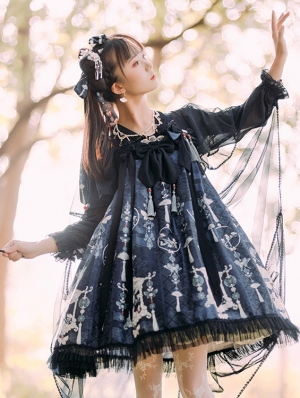 The Painted Screen Chinese Style Navy Lolita OP Dress