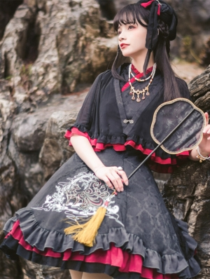 The Nine-Tailed Fox Chinese Style Black Lolita JSK Dress Set