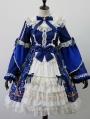 The Gold Bird Tea Party Blue Classic Long Sleeve Lolita OP Dress