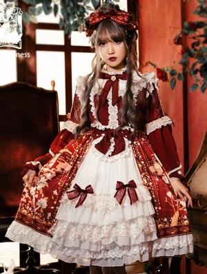The Gold Bird Tea Party Red Classic Long Sleeve Lolita OP Dress