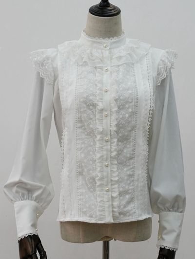 The Afternoon Tea Time White Long Sleeve Classic Lolita Blouse
