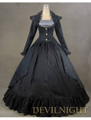 Black Vintage Long Sleeves Gothic Victorian Dress