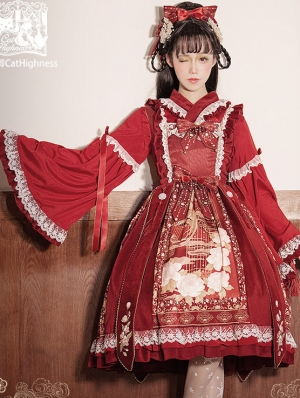 The Gold bird Chinese Style Red Classic Qi Lolita JSK Dress