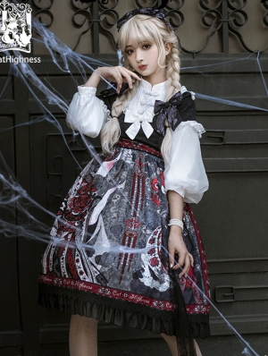 The Shape Of Witches Black Long Sleeve Gothic Lolita OP Dress