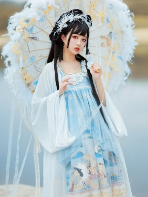 Red-Crowned Crane In Clouds Sax Blue Chinese Style Qi Lolita JSK Dress