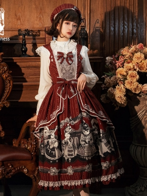 Afternoon Tea Time Red Preppy Style Lolita JSK Dress