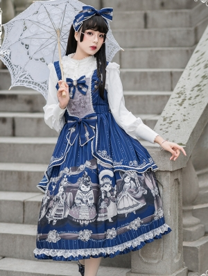 Afternoon Tea Time Blue Preppy Style Lolita JSK Dress