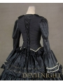 Gorgeous Long Trumpet Sleeves Black Victorian Ball Gowns