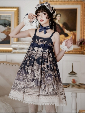 The unfinished poem pattern Navy Classic Lolita JSK Dress