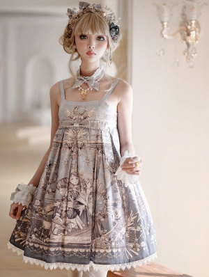 The unfinished poem pattern Grey Classic Lolita JSK Dress