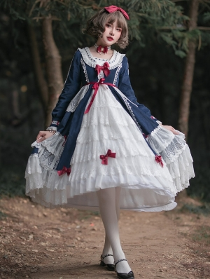The Dusk Forest Snow White Navy and White Sweet Lolita Long Sleeve OP Dress