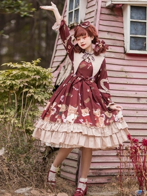 The Honey Bear Tea Party Red Sweet Lolita Long Sleeve OP Dress