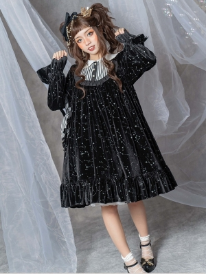 The Falling Stars Night Black Long Sleeve Lolita OP Dress