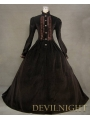 Brown Vintage Tudor Long Sleeves Winter Victorian Dress