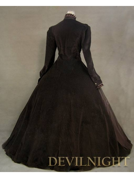 Brown Vintage Tudor Long Sleeves Winter Victorian Dress