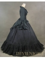 Black Romantic Long Trumpet Sleeves Gothic Victorian Dress