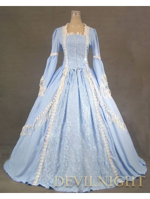 Elegant Blue Lace Victorian Dress