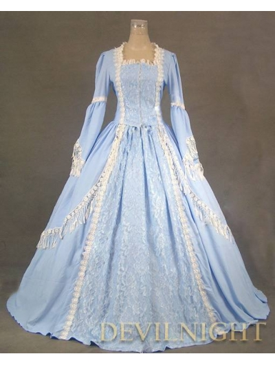 Elegant Blue Lace Victorian Dress