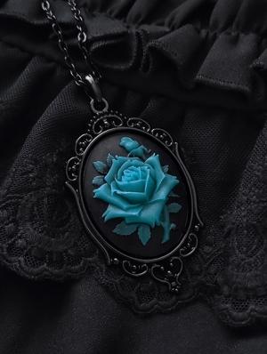 Vintage Gothic Blue Rose Embossed Pendant Necklace