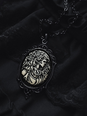 Vintage Gothic Corpse Bride Embossed Pendant Necklace