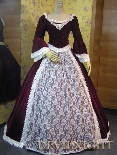 Wine Red Velvet Lace Victorian Ball Gowns Devilnight Co Uk