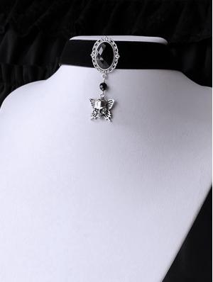 Black Vintage Gothic Jewel Skeleton Butterfly Pendant Choker