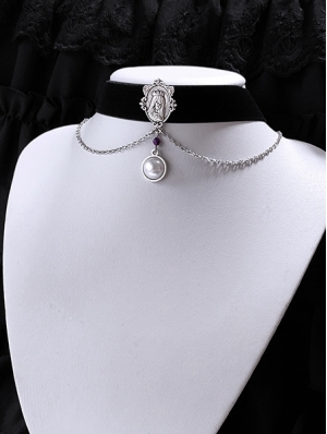 Vintage Gothic Chain Pearl Pendant Choker