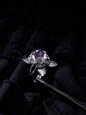 Vintage Gothic Purple Rose Crystal Adjustable Ring