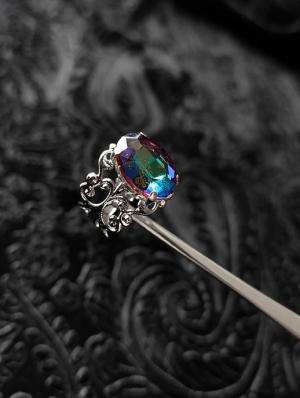 Vintage Gothic Engraved Colorful Crystal Adjustable Ring