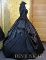Black High Collar Long Sleeves Gothic Victorian Ball Gowns